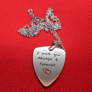 """Guitar Pick & 24"""" Necklace all Stainless Steel"""